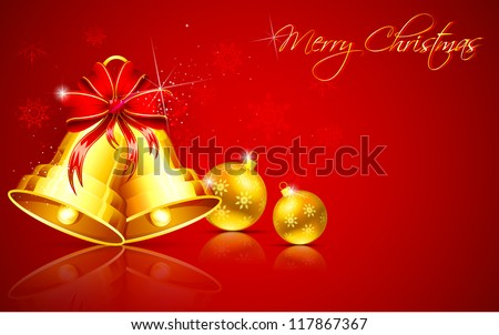 illustration of golden Christmas bauble and bell on abstract background - stock vector