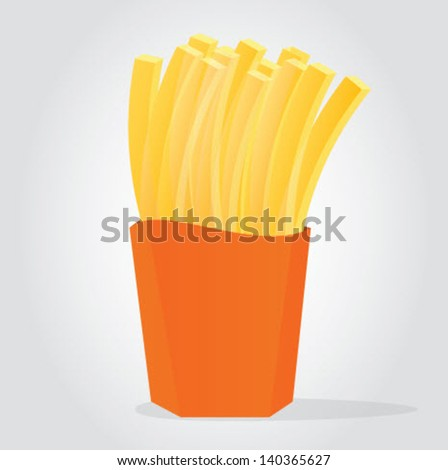 Illustration of Golden French Fries/French Fries Vector - stock vector