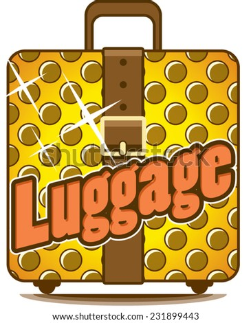 Illustration of golden suitcase strap closed with text - stock vector