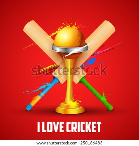 illustration of golden trophy with cricket bat - stock vector