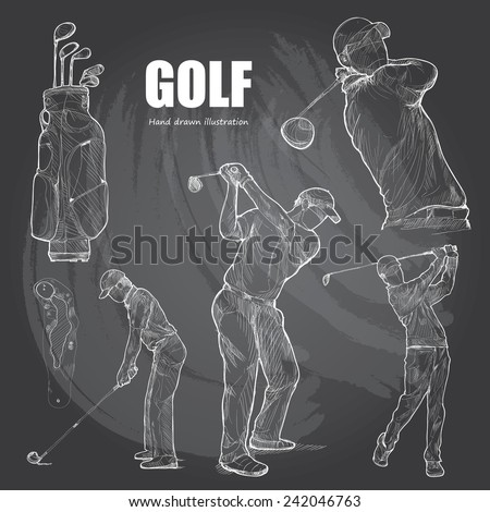 illustration of Golf. Hand drawn. - stock vector