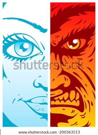 Illustration of good and evil - stock vector