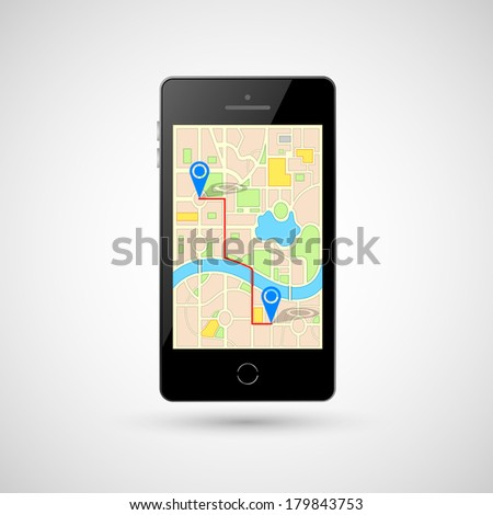 illustration of GPS in mobile phone showing route map - stock vector