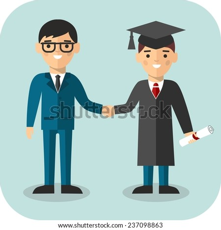 Illustration of graduate and teacher with background of education icons. Students in graduation gown and mortarboard with teacher in background of education icons  - stock vector