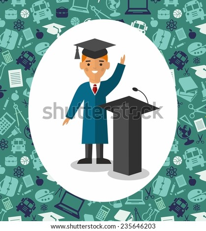 Illustration of graduate with background of education icons. Illustration with student in graduation gown and mortarboard near tribune in background of education icons  - stock vector