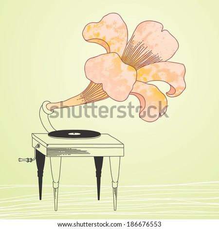 Illustration of gramophone with fancy flower trumpet - stock vector