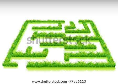 illustration of grass maze on abstract background - stock vector