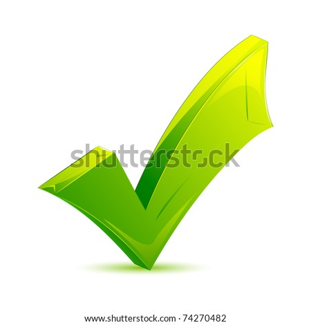 illustration of green checkmark on isolated background - stock vector