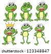 Illustration of green frogs on a white background - stock vector