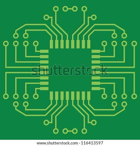 Illustration of Green Seamless Printed Circuit Board - stock vector