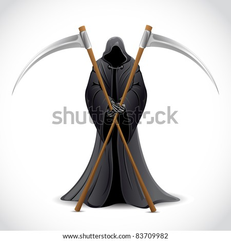 illustration of grim holding sword on abstract background - stock vector