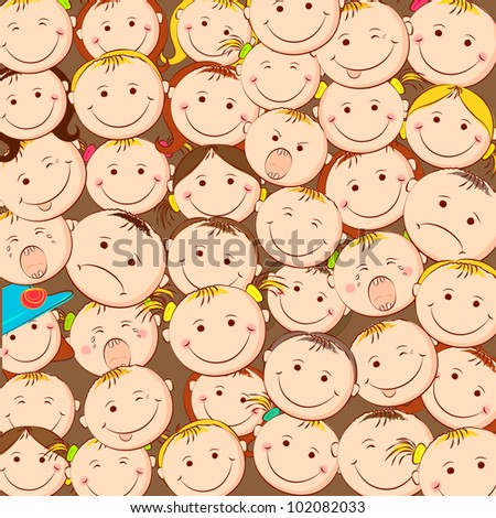 illustration of group of kid looking upward - stock vector