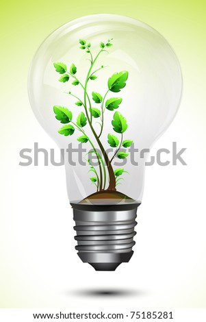 illustration of growing plant inside bulb on abstract background - stock vector