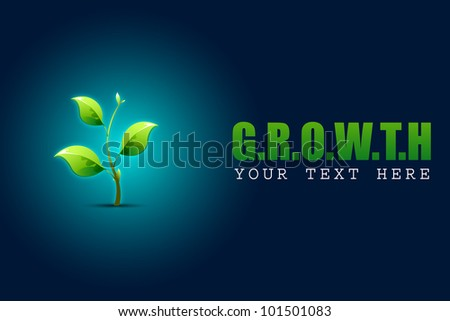 illustration of growing sapling plant in growth concept background - stock vector