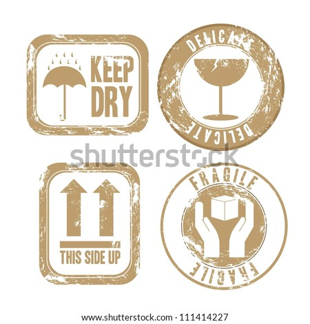 illustration of grunge seals for packaging isolated on beige background, vector illustration - stock vector