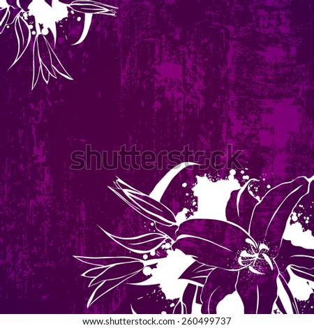 Illustration of Grunge Vintage Lily Flower Frame in Purple and White, Copyspace - stock vector