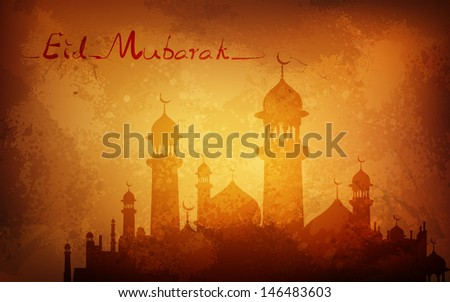 illustration of Grungy Eid Mubarak Background with mosque - stock vector