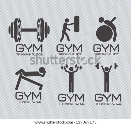 Illustration of gym icons, lines background, vector illustration - stock vector