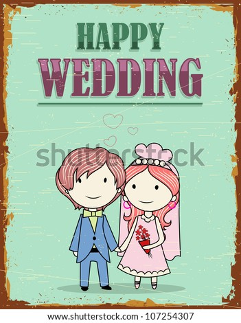 illustration of haapy wedding background in vinatge style - stock vector