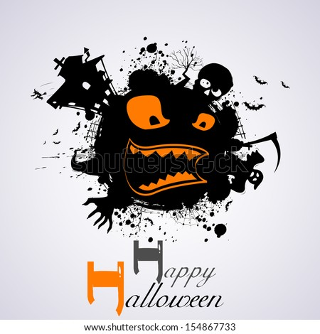 illustration of Halloween Background with scary face - stock vector