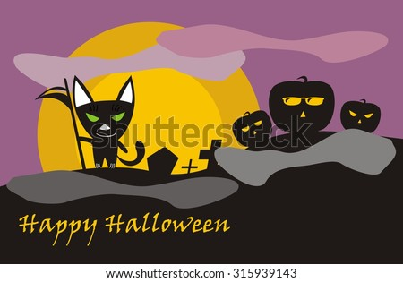 Illustration of Halloween cat-death on cemetery- Vector  - stock vector
