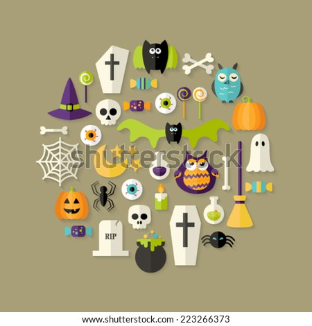 Illustration of Halloween Flat Icons Set Over Light Brown - stock vector