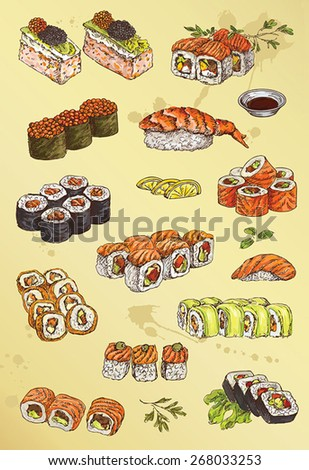 illustration of hand drawing set of sushi  - stock vector
