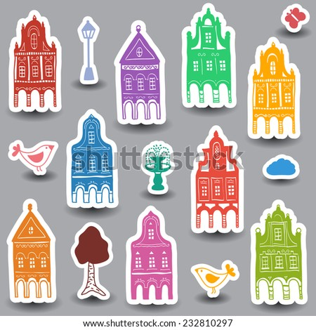 Illustration of hand drawn colored houses on white background - stock vector