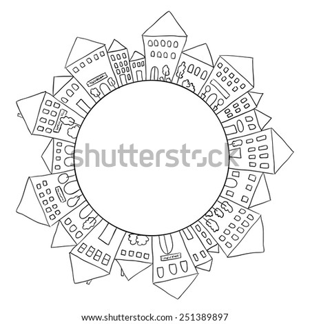 Illustration of hand drawn houses in circle shape - stock vector