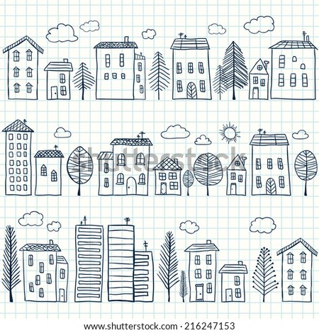 Illustration of hand drawn houses on squared paper, seamless pattern - stock vector