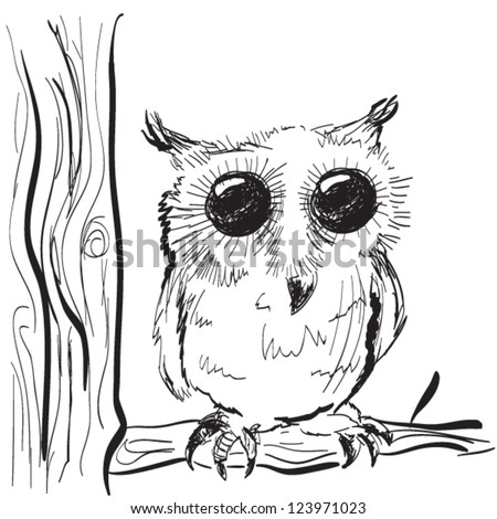 Illustration of hand drawn owl on a tree sketch - stock vector