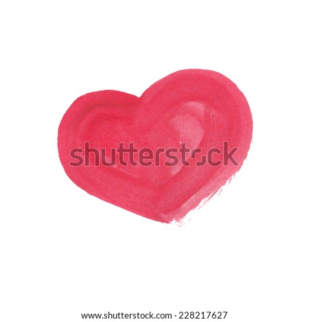 Illustration of hand drawn watercolor heart. Vector - stock vector
