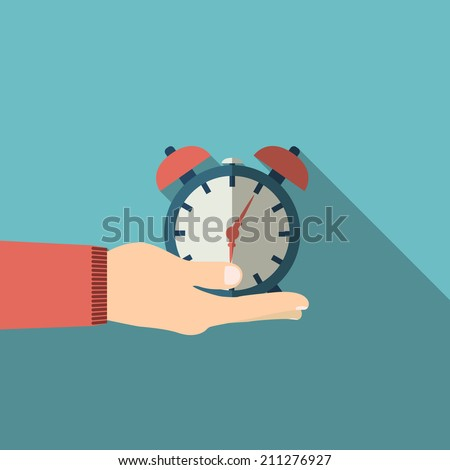 illustration of hand infographic in hand with shadow - stock vector