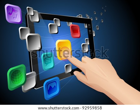 Illustration of hand pressing a flowing web app icon on cloud integrated touch screen tablet computer. Vector eps 10 file layered, grouped and named for easy editing. - stock vector