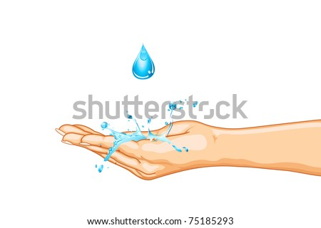 illustration of hand saving water on isolated background - stock vector