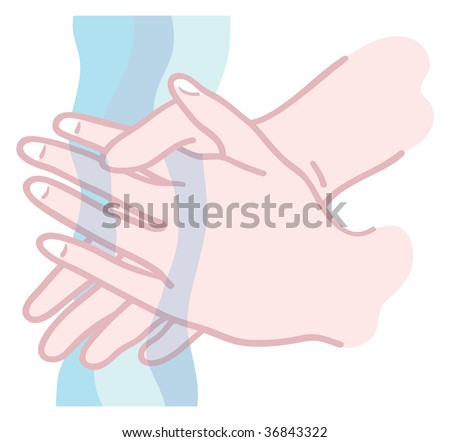 Illustration of hands being washed under running water - stock vector