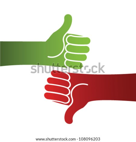 Illustration of hands with thumb up or down with red and green color, as valuation concept - stock vector