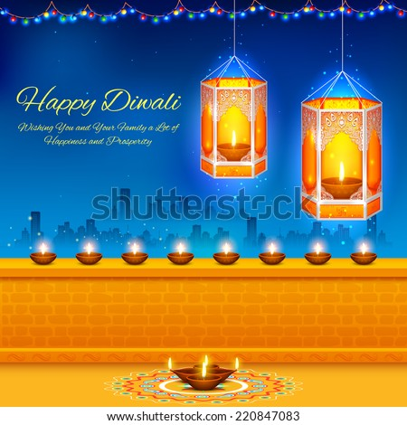 illustration of hanging kandil in Diwali night - stock vector