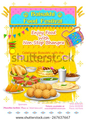 illustration of Happy Baisakhi Food festival background - stock vector