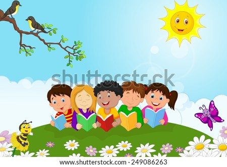 Illustration of happy children lying on the ggass while reading books - stock vector