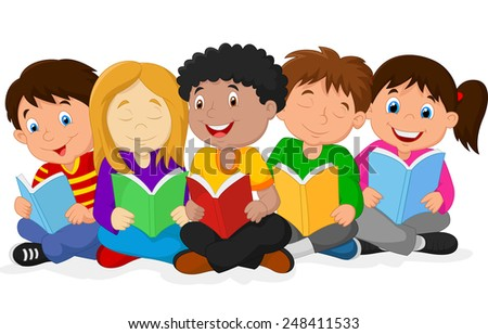 Illustration of Happy Children Sitting while Reading Books - stock vector