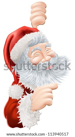 Illustration of happy Christmas Santa Claus peeping round and pointing - stock vector