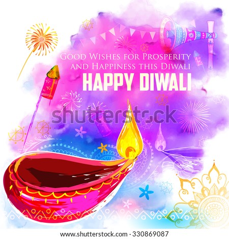 illustration of Happy Diwali background with colorful watercolor diya - stock vector
