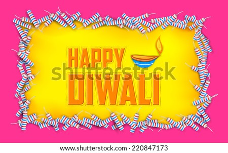 illustration of Happy Diwali background with diya and firecracke - stock vector