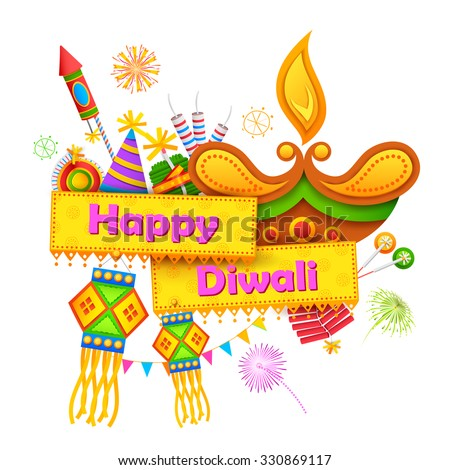 illustration of Happy Diwali background with diya and firecracker - stock vector