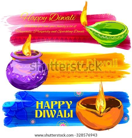 illustration of Happy Diwali banner colorful watercolor diya - stock vector