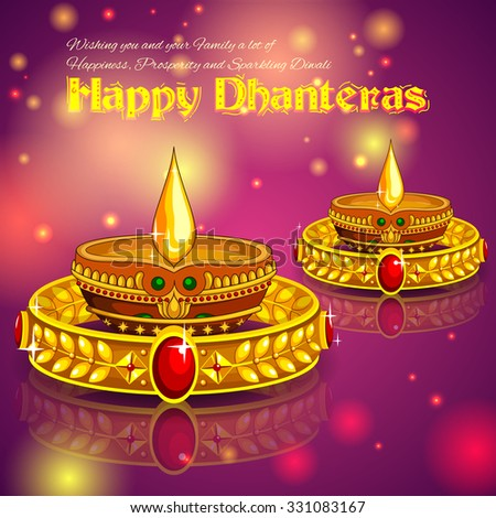 illustration of Happy Diwali jewellery promotion background with diya - stock vector