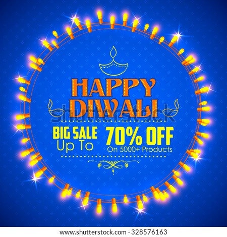 illustration of Happy Diwali promotion and advertisement background decorated with light garland arrangement - stock vector