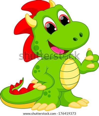 Illustration of happy dragon cartoon  - stock vector