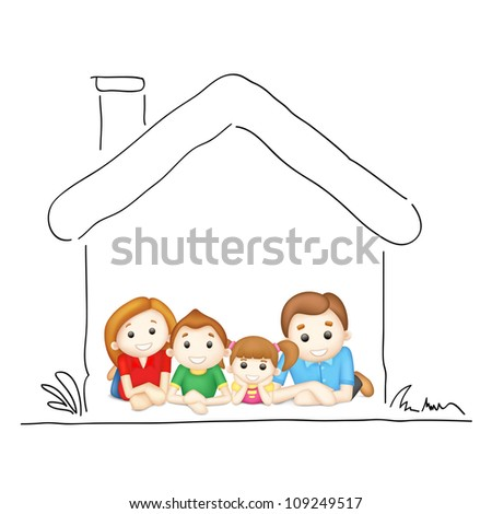 illustration of happy family laying in sweet home - stock vector